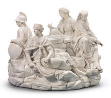 AN ITALIAN PORCELAIN WHITE ALLEGORICAL LARGE FIGURE GROUP<BR>CIRCA 1800 |