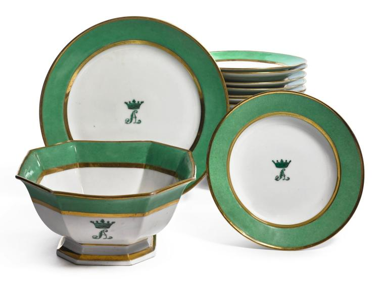 A CONTINENTAL PORCELAIN GREEN-BORDERED MONOGRAMMED PART DINNER SERVICE MID-19TH CENTURY |