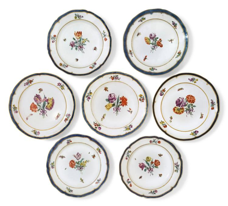 AN ASSEMBLED GROUP OF SEVEN COZZI PLATES CIRCA 1780 |