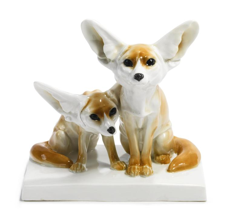 A MEISSEN GROUP OF FENNEC FOXES CIRCA 1905 |