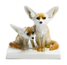 A MEISSEN GROUP OF FENNEC FOXES<BR>CIRCA 1905 |