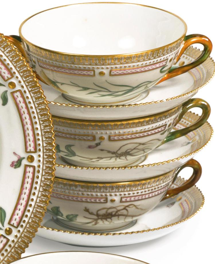 A SET OF TWELVE ROYAL COPENHAGEN 'FLORA DANICA' SOUP CUPS AND SAUCERS<BR>MODERN |