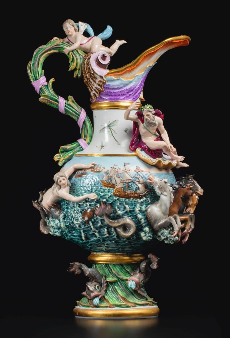 A MEISSEN EWER EMBLEMATIC OF 'WATER'<BR>SECOND HALF 19TH CENTURY |