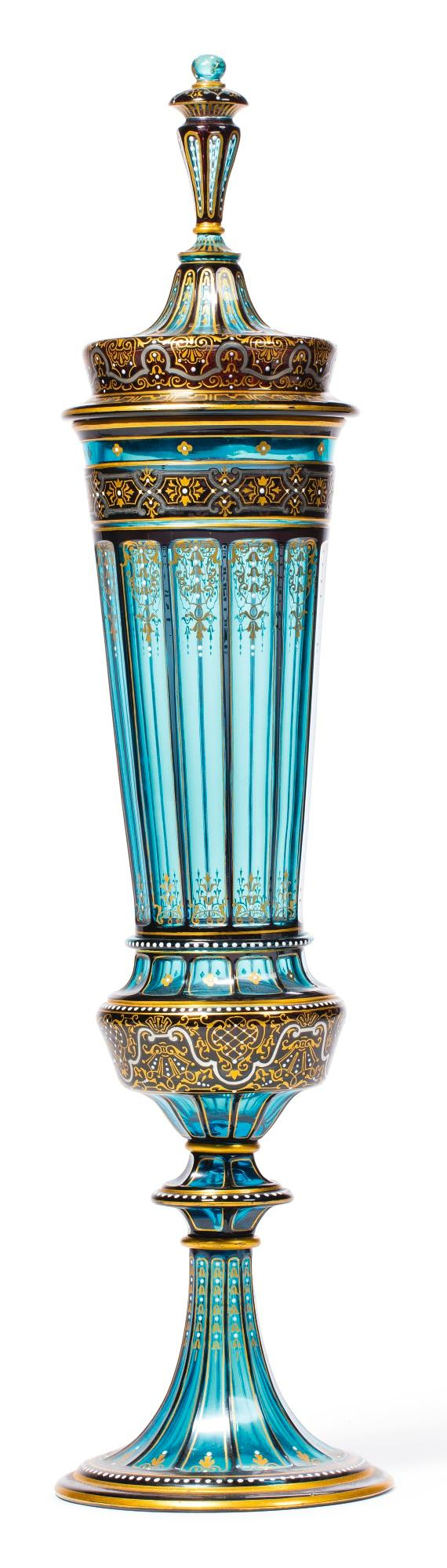 A J. & L. LOBMEYR JEWELLED TURQUOISE GLASS LARGE CUP AND COVER<BR>CIRCA 1880 |