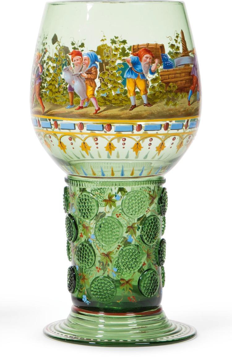 A J. & L. LOBMEYR GREEN GLASS RÖMER CIRCA 1880 |