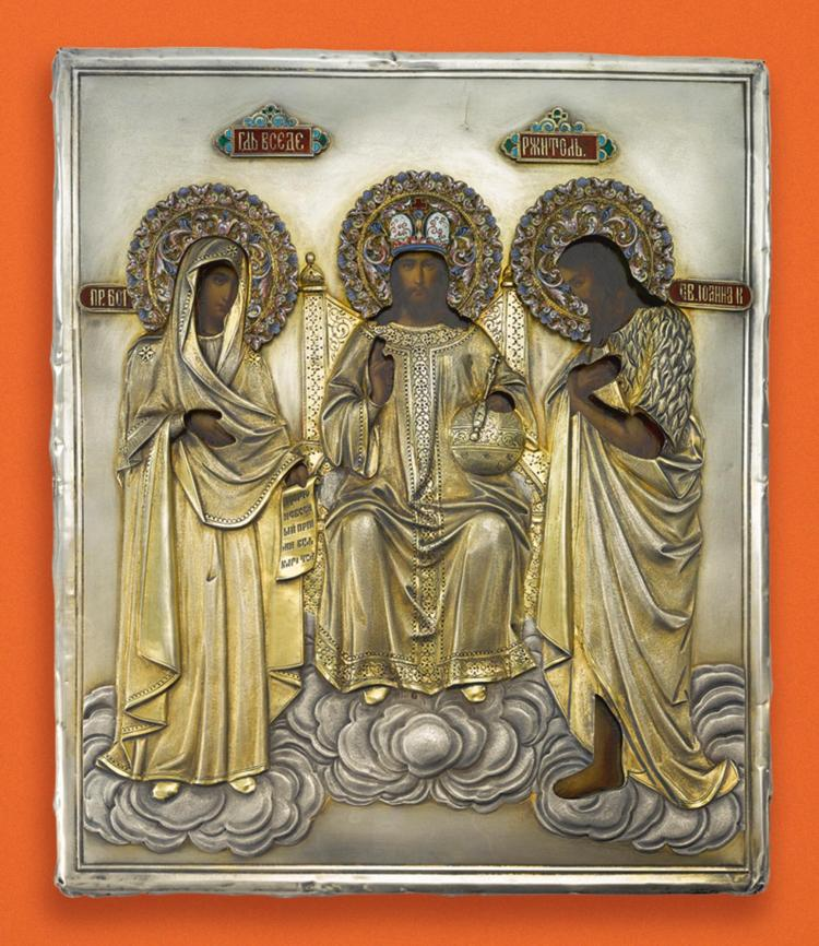 A RUSSIAN ICON OF CHRIST PANTOCRATOR WITH THE MOTHER OF GOD AND SAINT JOHN WITH SILVER-GILT AND ENAMEL OKLAD, MOSCOW, 1899-1908 |