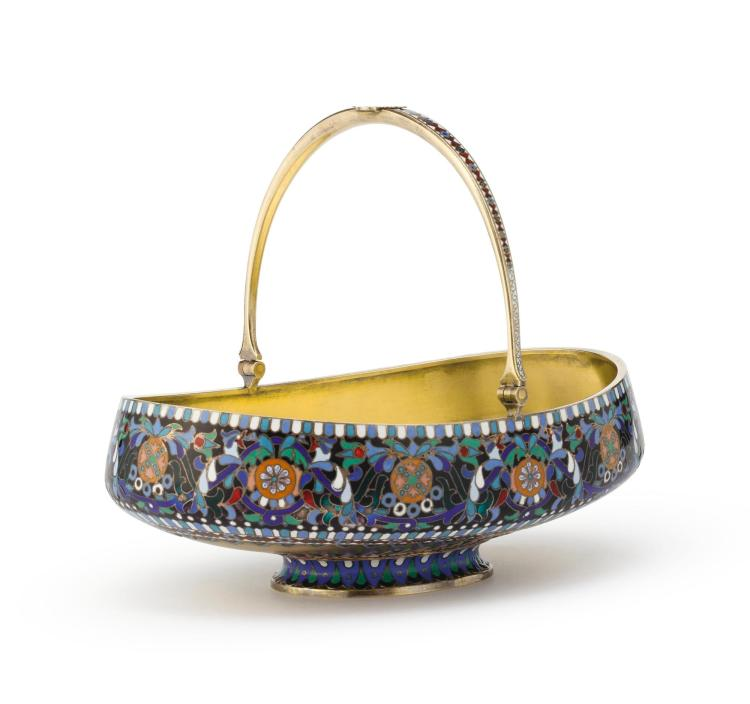 A RUSSIAN SILVER-GILT AND CHAMPLEVÉ ENAMEL HANDLED BOWL, PROBABLY OVCHINNIKOV, MOSCOW, 1883 |