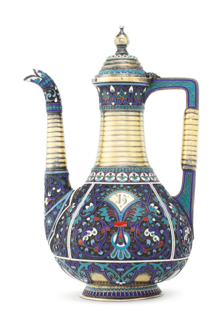A RUSSIAN SILVER-GILT AND CLOISONNÉ ENAMEL COFFEE POT, ANTIP KUZMICHEV RETAILED BY TIFFANY & CO., MOSCOW, BEFORE 1899 |