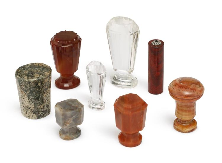 A GROUP OF RUSSIAN HARDSTONE AND ROCK CRYSTAL HAND SEALS, SOME PROBABLY IMPERIAL LAPIDARY WORKS, EKATERINBURG, 19<SUP>TH </SUP>- EARLY 20<SUP>TH</SUP> CENTURY |