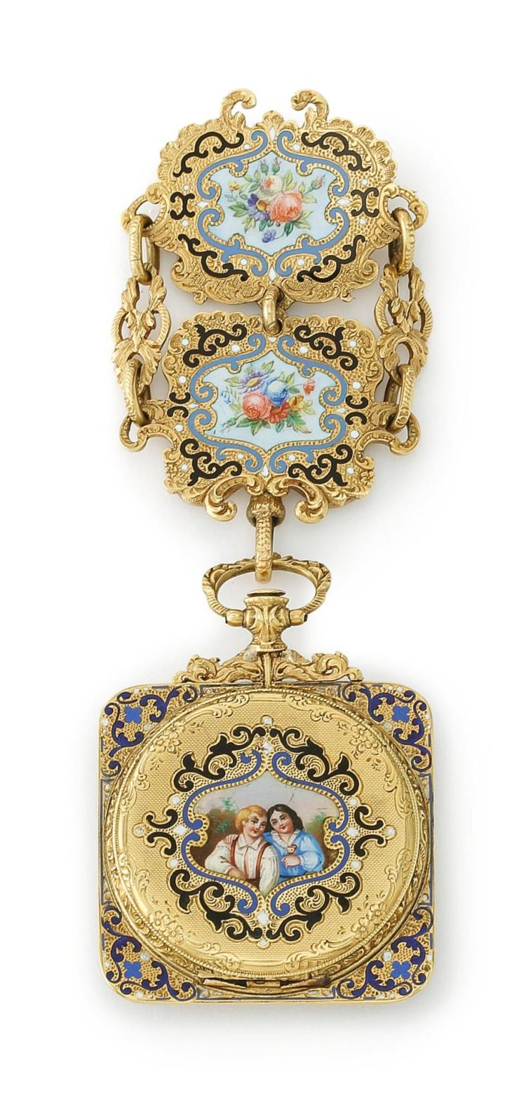 A SWISS GOLD AND ENAMEL WATCH AND CHATELEINE, CIRCA 1840 |