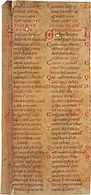 QUADRUPLEX PSALTER, FRAGMENTS OF TWO LEAVES IN LATIN AND TRANSLITERATED GREEK. [SOUTHERN(?) GERMANY, 12TH CENTURY]