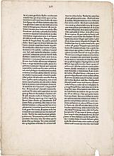 A LEAF FROM THE 1462 BIBLE CONTAINING LUKE 5:2-6:46. MAINZ: JOHANN FUST AND PETER SCHOEFFER, 14 AUGUST 1462