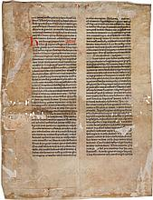 A VELLUM LEAF FROM THE 1462 BIBLE CONTAINING ESTHER 11:2-15:15. MAINZ: JOHANN FUST AND PETER SCHOEFFER, 14 AUGUST 1462