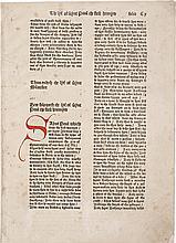JACOBUS DE VORAGINE. A BIFOLIUM, FOLIATED CX–CXI, FROM THE GOLDEN LEGEND. [WESTMINSTER: CAXTON, 1483]