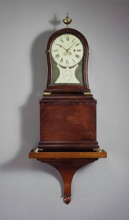 A FEDERAL MAHOGANY KIDNEY-DIAL MANTLE CLOCK, AARON WILLARD, BOSTON 1780-1800