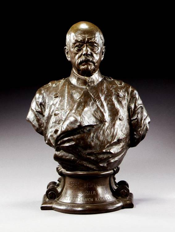 w - REINHOLD BEGAS, GERMAN, 1831-1911, A BUST OF OTTO VON BISMARCK