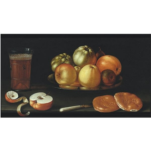 - Cornelis Jacobsz. Delff , Gouda 1570/71 - 1643 Delft   Still life with apples and other fruit on a tazza, together with a glass of beer, a partly peeled apple, a knife and two bread rolls   oil on panel