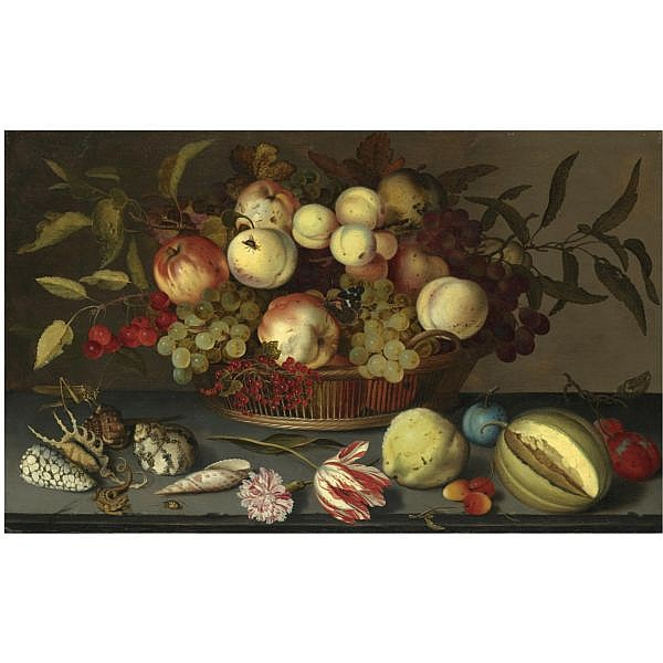 - Balthasar van der Ast , Middelburg 1593/94 - 1657 Delft Still life of peaches, apples, grapes, cherries and redcurrants in a basket, with sea-shells, insects, a parrot tulip, a pink rose and further fruit scattered on the stone ledge beneath oil on