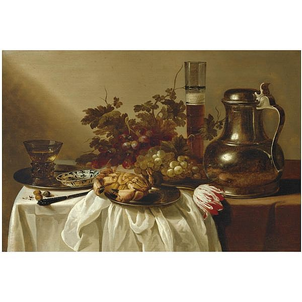 - Cornelis Kruys , Place unknown 1619/20 - 1654 Schiedam still life with a pewter flagon together with a glass of beer, a crab, a blue-and-white dish and a roemer on pewter dishes, together with a knife, hazelnuts, a tulip and bunches of grapes on a