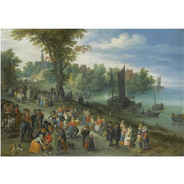 Jan Brueghel the Elder , Brussels 1568 - 1625 Antwerp The edge of a village with figures dancing on the bank of a river and a fish-seller and a self portrait of the artist in the foreground oil on copper