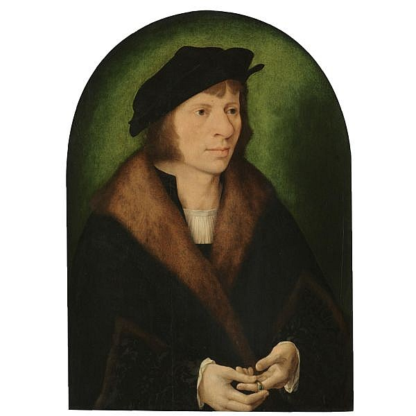 Joos van Cleve , Cleve (?) Date Unknown - 1540/1 Antwerp Portrait of a man, half length, in a black cap and a fur-trimmed coat oil on panel, arched top