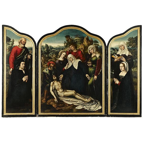 Ambrosius Benson , Lombardy (?) late 15th century - before 1550 Bruges A Triptych of the Lamentation Central panel: The Lamentation of Christ Inner wings: Saint Peter and Saint Anne with Donor and Donatrix Outer wings: The Temptation in the Garden of