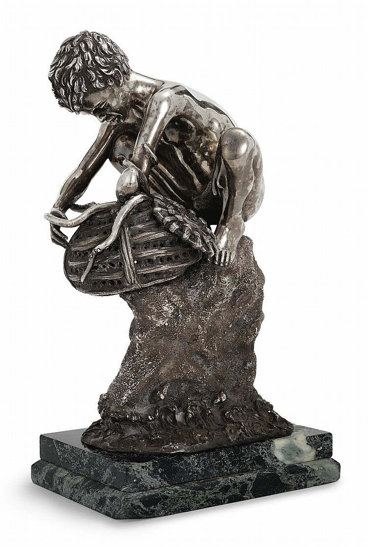 A SILVER SCULPTURE OF A FISHER BOY, PROBABLY ITALIAN, 20TH CENTURY |