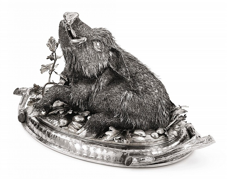 AN ITALIAN SILVER MEAT DISH WITH BOAR-FORM COVER, 20TH CENTURY |