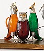 THREE SPANISH SILVER-MOUNTED GLASS BIRD-FORM DECANTERS, 20TH CENTURY |