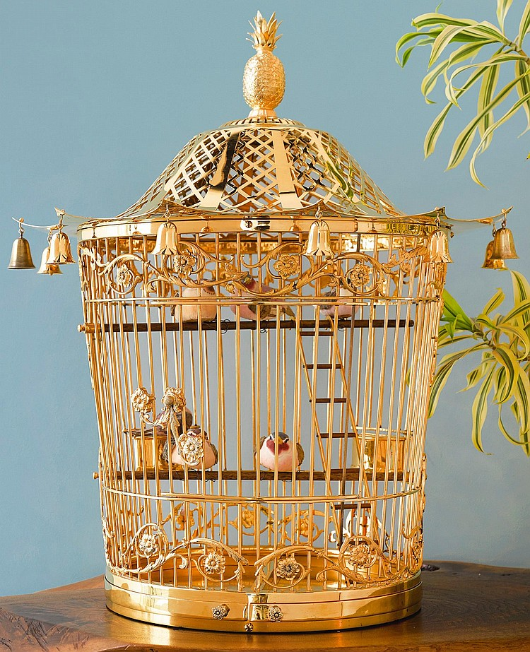 AN ENGLISH SILVER-GILT BIRD CAGE, TIFFANY & CO., LONDON, 1985 |