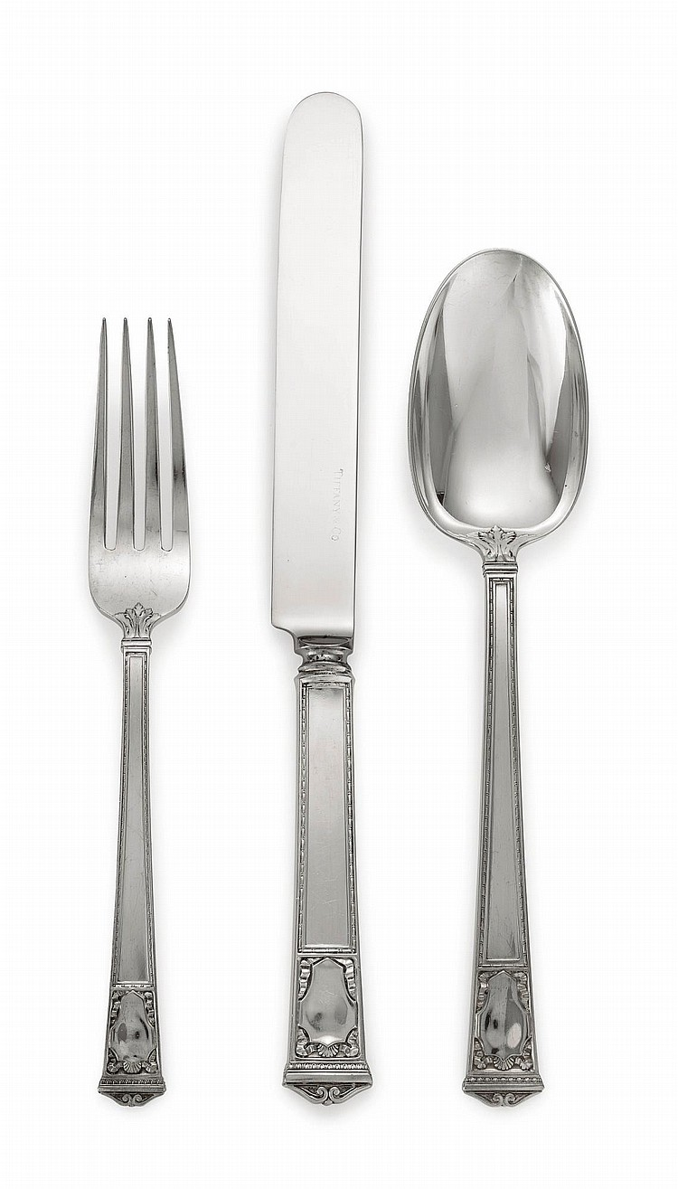 AN AMERICAN SILVER SAN LORENZO PATTERN FLATWARE SERVICE, TIFFANY & CO., NEW YORK, EARLY 20TH CENTURY |