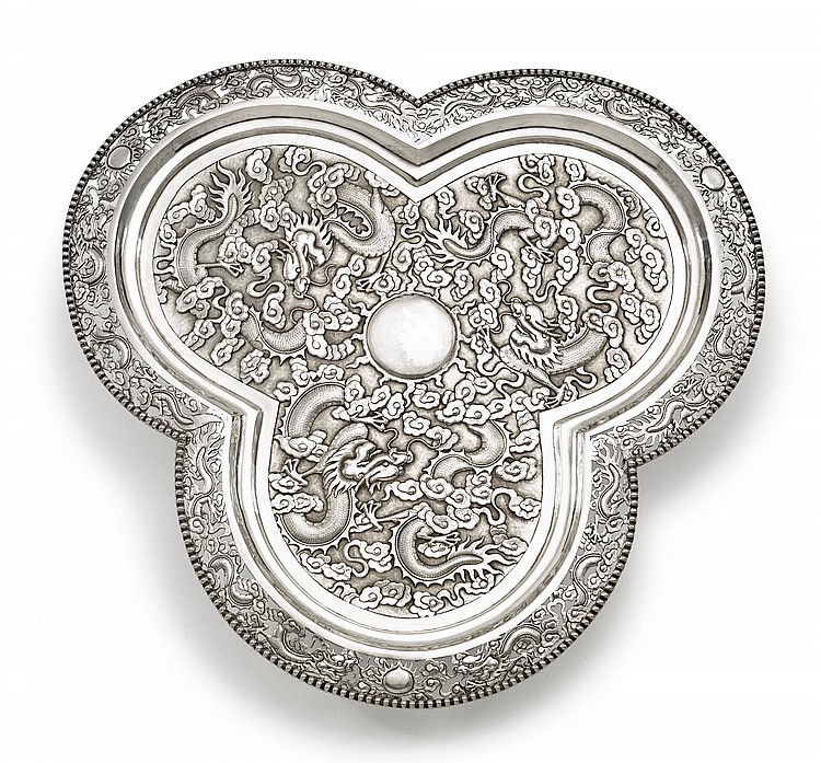 A CHINESE EXPORT SILVER TRI-FORM TRAY, TUCK CHANG & CO., SHANGHAI, CIRCA 1900 |