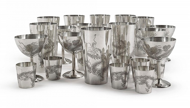A SET OF CHINESE EXPORT SILVER CUPS, BO CHAN, CHENGTU, DATED 1948 |