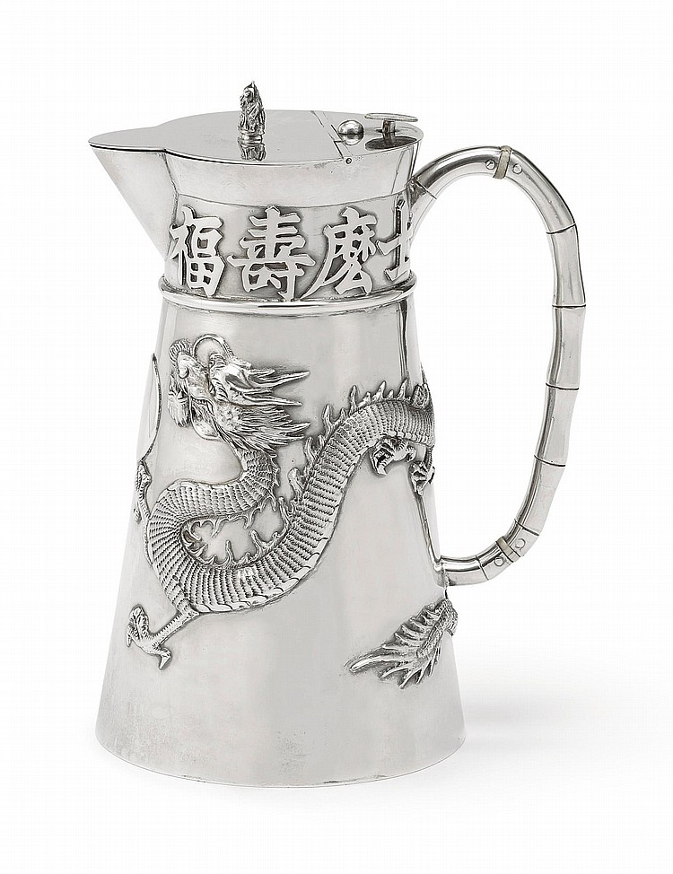 A CHINESE EXPORT SILVER HOT WATER JUG, BAO CHANG, CHONGQING, CIRCA 1900 |