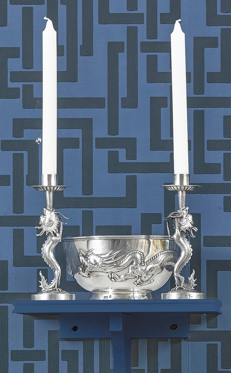 A PAIR OF CHINESE EXPORT SILVER CANDLESTICKS AND A SIMILAR BOWL, CIRCA 1900 |
