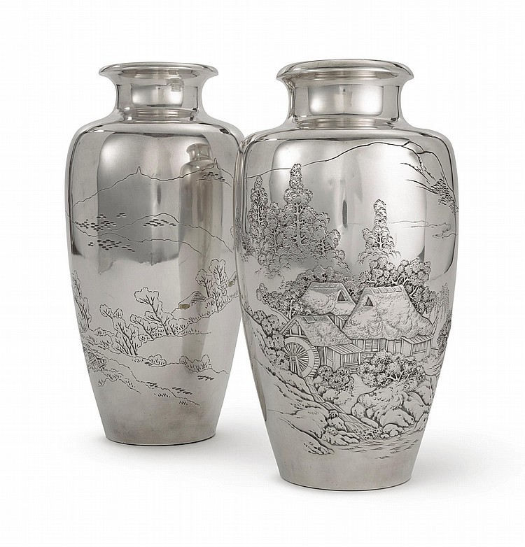 TWO JAPANESE EXPORT SILVER VASES, 20TH CENTURY |