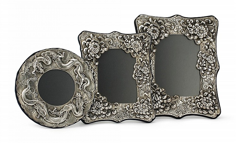 THREE CHINESE EXPORT SILVER PICTURE FRAMES, 20TH CENTURY |