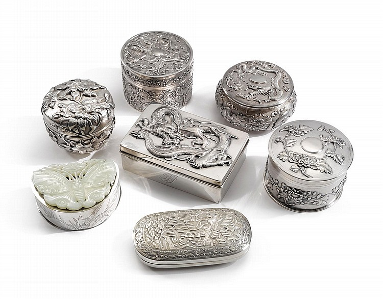 A GROUP OF SIX CHINESE EXPORT SILVER BOXES, LATE 19TH / EARLY 20TH CENTURY |