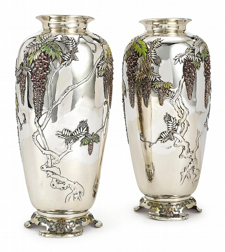 A PAIR OF JAPANESE EXPORT SILVER AND ENAMEL VASES, SANJU SAKU, YOKOHAMA, CIRCA 1900 |