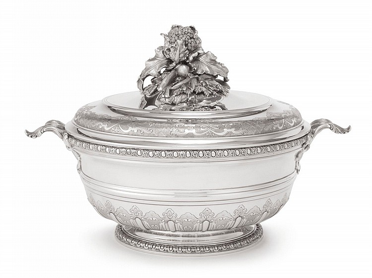A FRENCH SILVER TUREEN AND COVER, PUIFORCAT, PARIS, 20TH CENTURY |