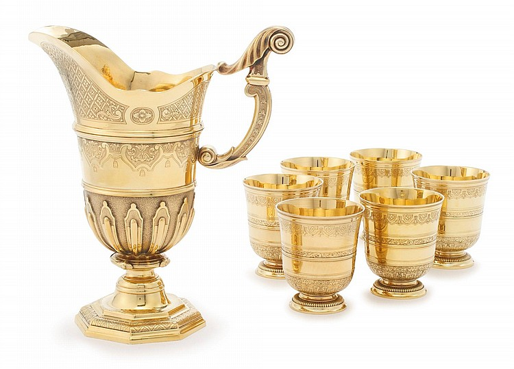 A FRENCH SILVER-GILT EWER AND SET OF SIX BEAKERS, PUIFORCAT, PARIS, 20TH CENTURY |
