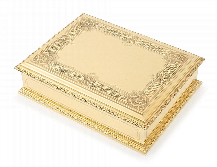 A FRENCH SILVER-GILT CIGAR BOX, PUIFORCAT, PARIS, 20TH CENTURY |