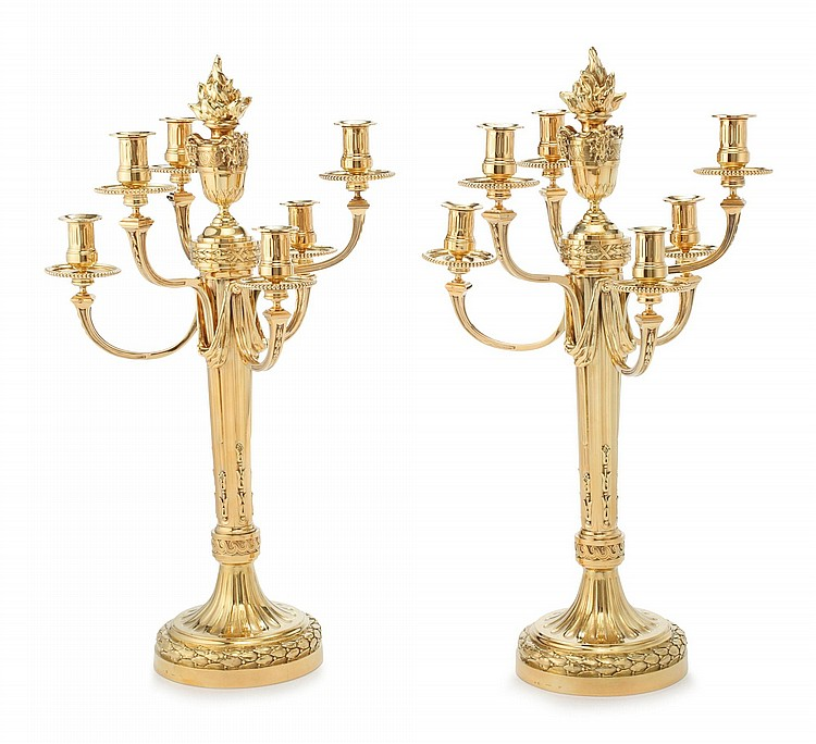 A PAIR OF FRENCH SILVER-GILT SEVEN-LIGHT CANDELABRA, ANDRÉ AUCOC, PARIS, CIRCA 1890 |