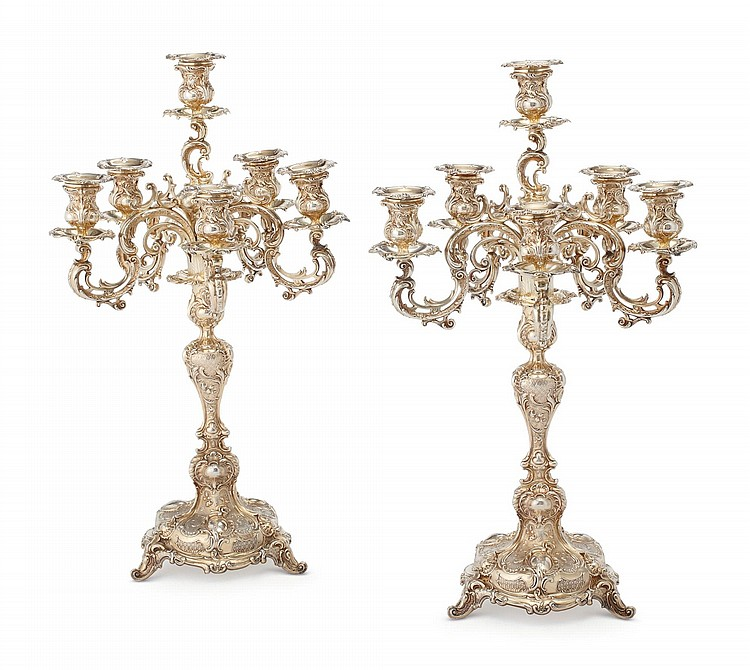 A PAIR OF GERMAN SILVER-GILT SIX-LIGHT CANDELABRA, CIRCA 1891 |