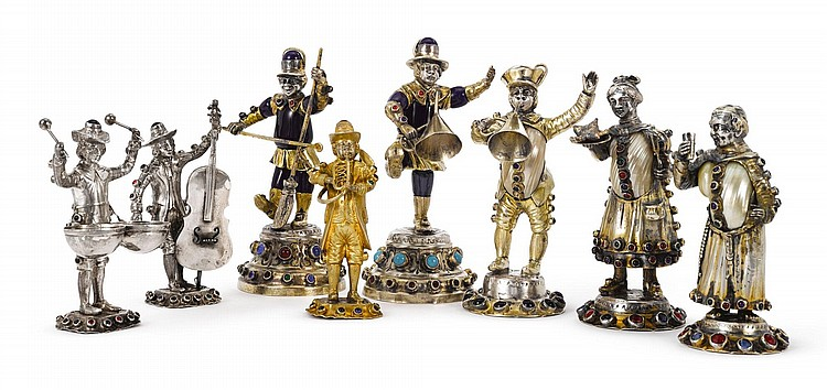 A GROUP OF SIX GERMAN PARCEL-GILT SILVER, ENAMEL, AND SHELL FIGURINES, GEBRUDER GLASER, HANAU, EARLY 20TH CENTURY |
