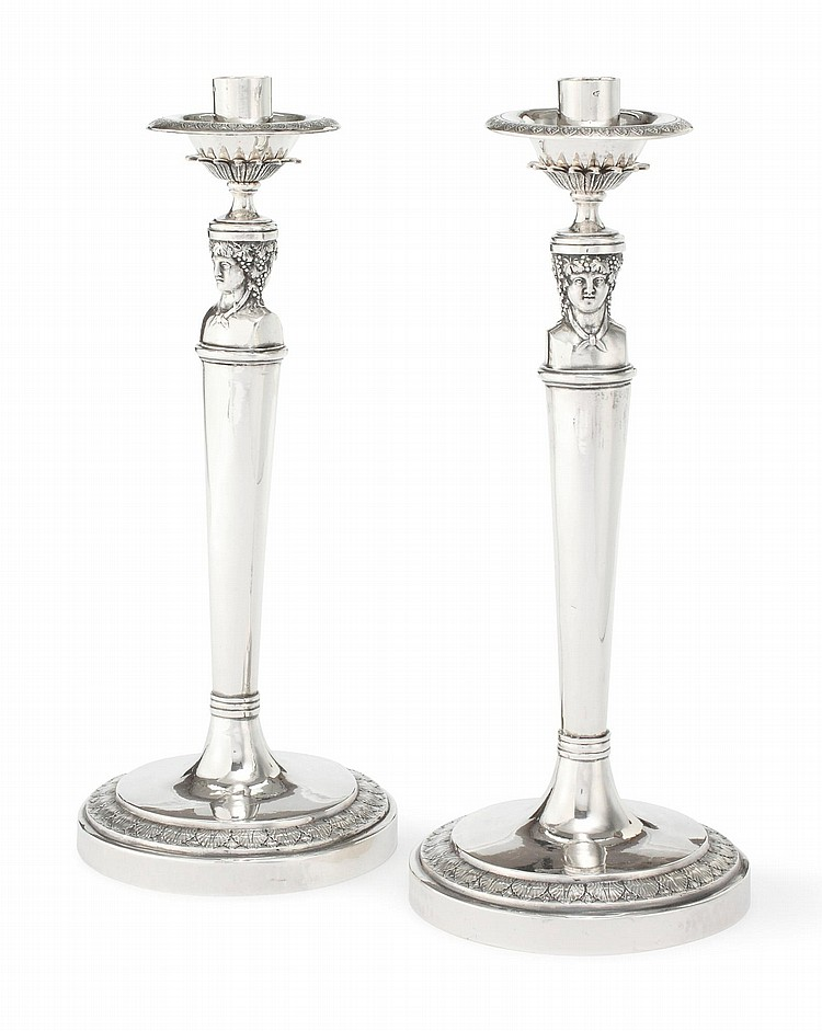 A PAIR OF ITALIAN SILVER FIGURAL CANDLESTICKS, ANGELO GIANNOTTI, ROME, CIRCA 1825 |