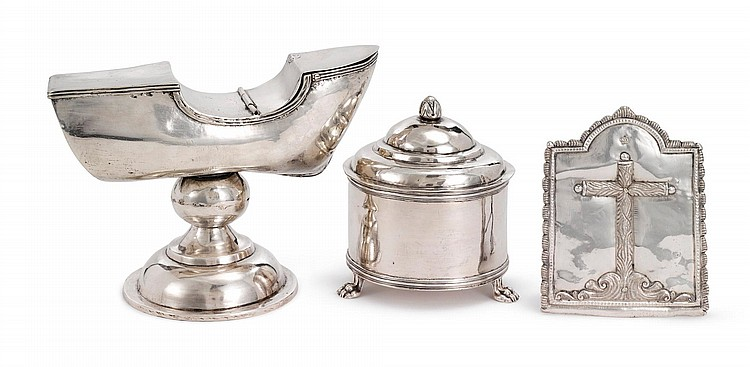 A SPANISH COLONIAL SILVER INCENSE BOAT, HOST CONTAINER, AND PAX, PROBABLY GUATEMALA, LATE 18TH / EARLY 19TH CENTURY |