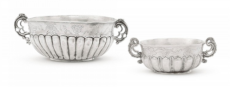 TWO SPANISH COLONIAL SILVER BOWLS, PROBABLY GUATEMALA, LATE 18TH / EARLY 19TH CENTURY |
