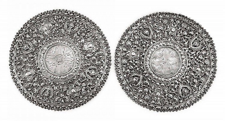 TWO SIMILAR SPANISH COLONIAL SILVER HALOS, PROBABLY PERU, FIRST HALF 18TH CENTURY |