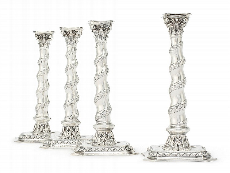 A SET OF FOUR VICTORIAN SILVER CANDLESTICKS, GEORGE LAMBERT, LONDON, 1876 |